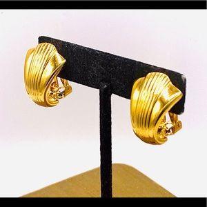 Vintage KJL Kenneth Lane clip on hoop earrings